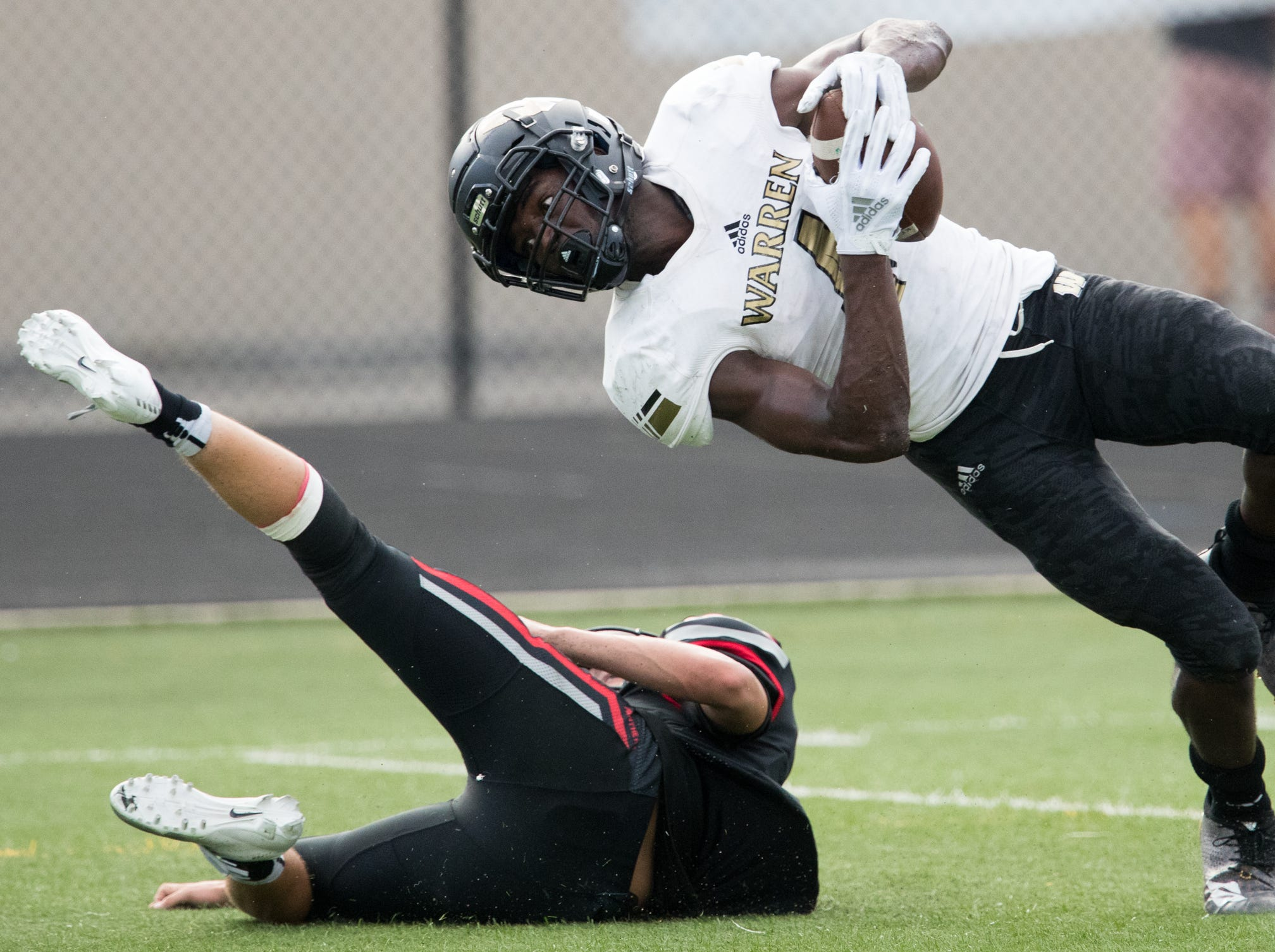 David Bell of Warren Central, looks for a touchdown after this catch that was called back after a penalty during a 58-27 romp for Warren Central High School as they defeat North Central High School at home, Indianapolis, Friday, Aug. 31, 2018.