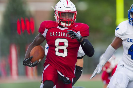 Southport High School senior Rashawn Haskins (8) died in a traffic accident, school officials said Sunday. Haskins is shown  running an pass reception for a touchdown against Columbus North High School on  Aug. 31, 2018.