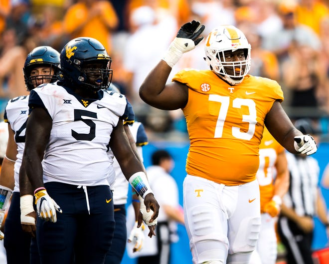 Tennessee offensive lineman Trey Smith (73) reacts to a play during the Belk College Kickoff between Tennessee and West Virginia at Bank of America Stadium in Charlotte, North Carolina on Saturday, September 1, 2018.
