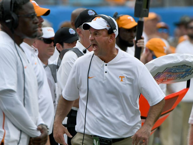Tennessee Head Coach Jeremy Pruitt on the sidelines during first half action against the West Virginia Mourtaineers in the Belk College Kickoff game in Charlotte, NC Saturday, September 1, 2018.