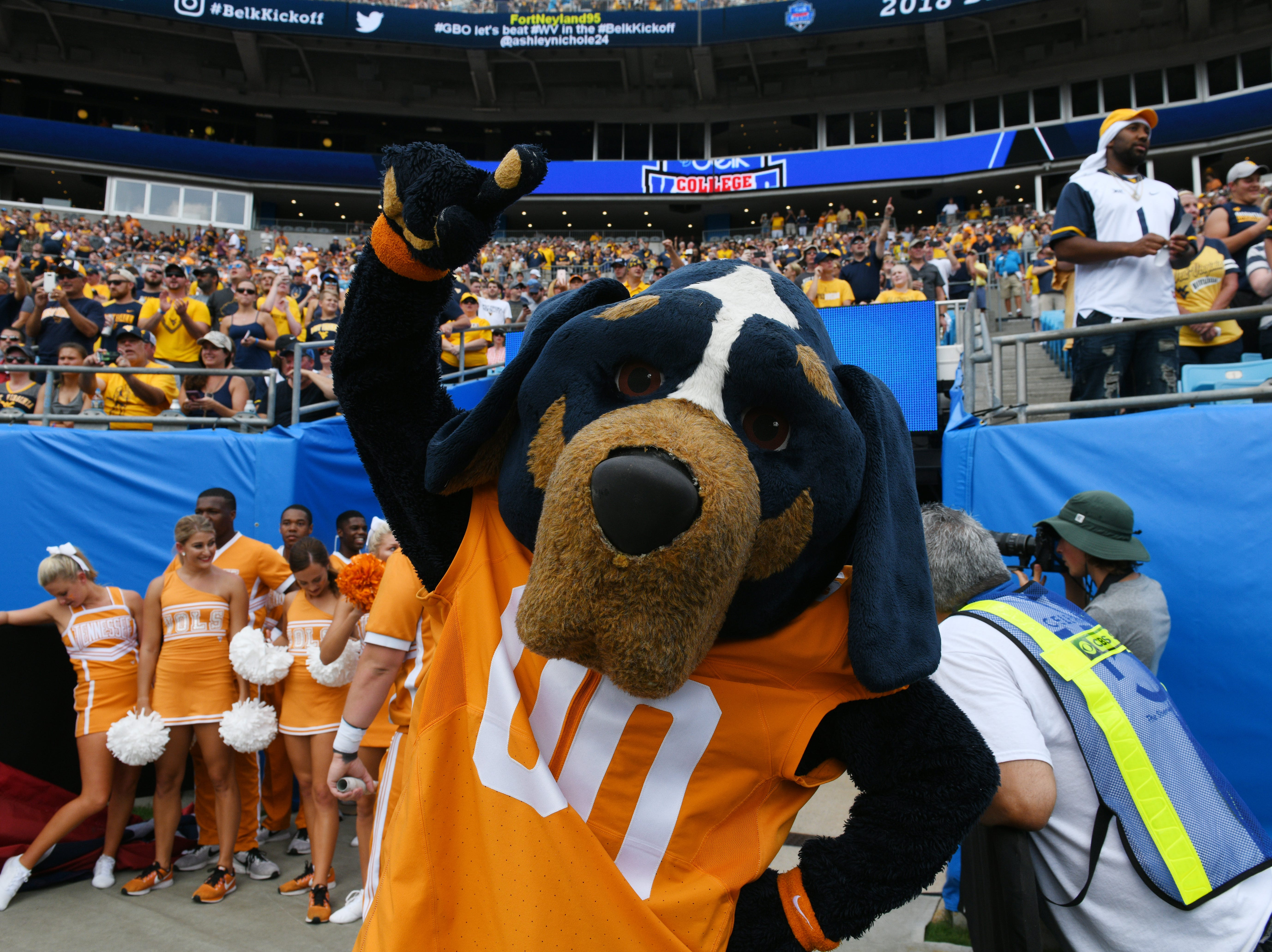 Smokey cheers during the Belk College Kickoff between Tennessee and West Virginia at Bank of America Stadium in Charlotte, North Carolina on Saturday, September 1, 2018.