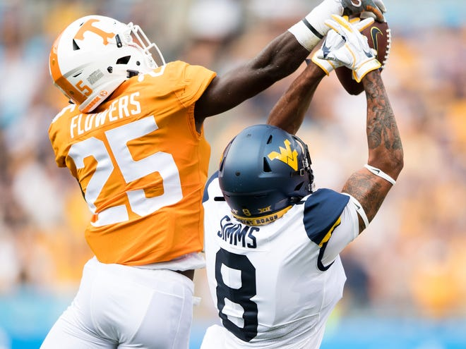 Tennessee defensive back Trevon Flowers (25) bats down a pass intended for West Virginia wide receiver Marcus Simms (8) in the season opener Sept. 1.