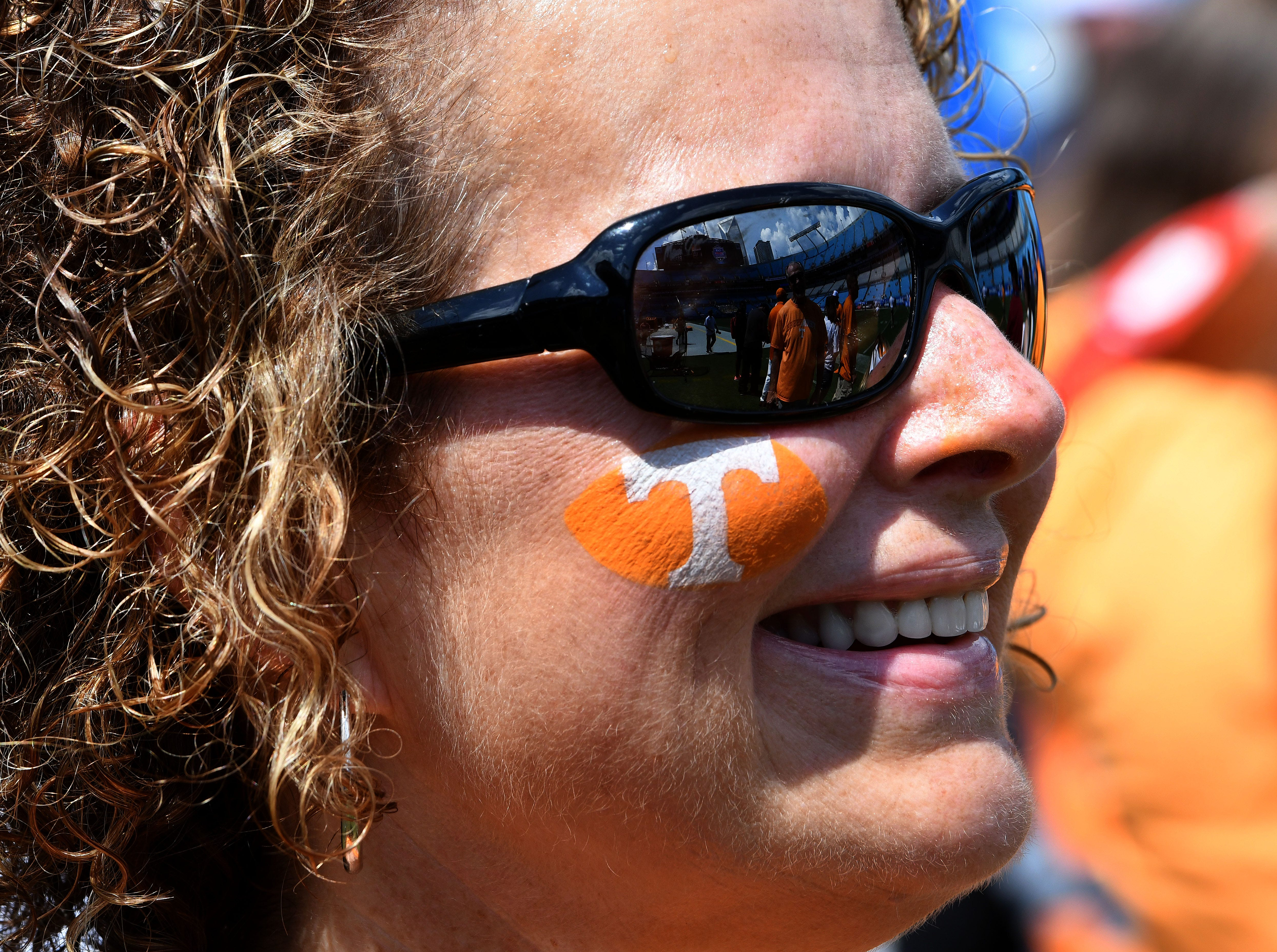 Sherrie Allen from Knoxville during pre-game activities before the game against the West Virginia Mountaineers in the Belk College Kickoff game in Charlotte, NC Saturday, September 1, 2018.