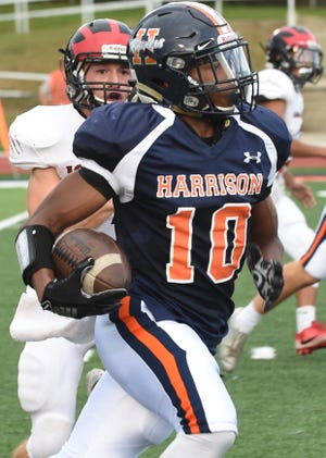 Harrison's Isaiah Armstrong led the Raiders to a 26-0 win over Tech.