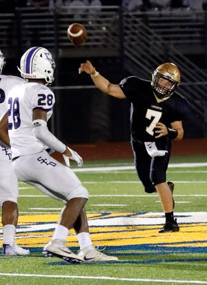 Lancaster senior quarterback Tyler Monk throws a pass in a Week 2 game against DeSales. Monk has completed 22 of 36 passes for 343 yards and four touchdowns this season. The Golden Gales will host rival Newark at 7 p.m. Friday at Fulton Field.