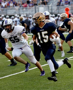 Lancaster's Max Hamilton runs the ball during a Week 2 game against DeSales. The Golden Gales will host Pickerington Central at 7 p.m. Friday at Fulton Field. It is homecoming for Lancaster.