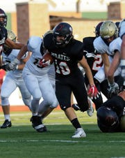 Pinckney's Ethan Stinson (10)  ran 18 times for 85 yards and a touchdown in a 31-14 loss to Chelsea on Friday, Aug. 31, 2018.