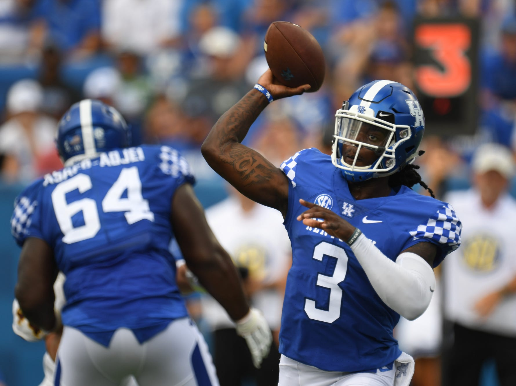 UK QB Terry Wilson throws during the University of Kentucky football game against Central Michigan at Kroger Field in Lexington, Kentucky on Saturday, September 1, 2018.