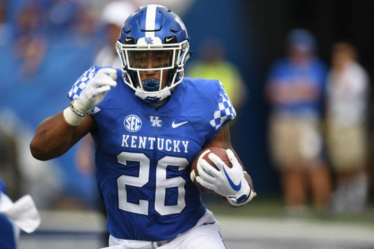 UK RB Benny Snell Jr. runs the ball during the University of Kentucky football game against Central Michigan at Kroger Field in Lexington, Kentucky on Saturday, September 1, 2018.
