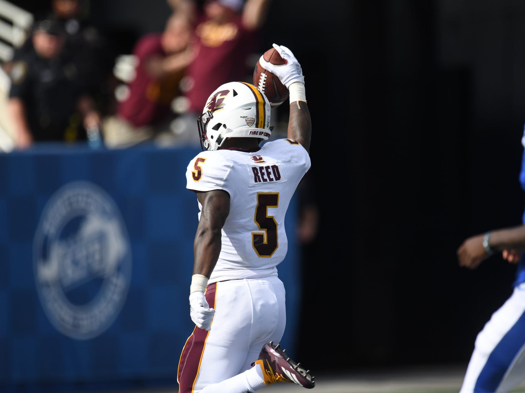 Central Michigan DB Devonni Reed scores a touchdown on an interception during the University of Kentucky football game against Central Michigan at Kroger Field in Lexington, Kentucky on Saturday, September 1, 2018.