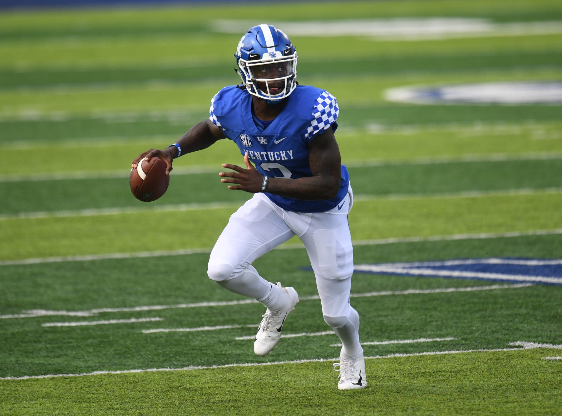 UK QB Terry Wilson during the University of Kentucky football game against Central Michigan at Kroger Field in Lexington, Kentucky on Saturday, September 1, 2018.