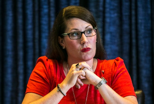 "Kentucky Secretary of State Alison Lundergan Grimes during a hearing about Jared Dearing, the election board's executive director, who said in a nine-page letter that Grimes had weakened ""checks and balances"" in the state's election system by misusing her office in a variety of ways. August 28, 2018"