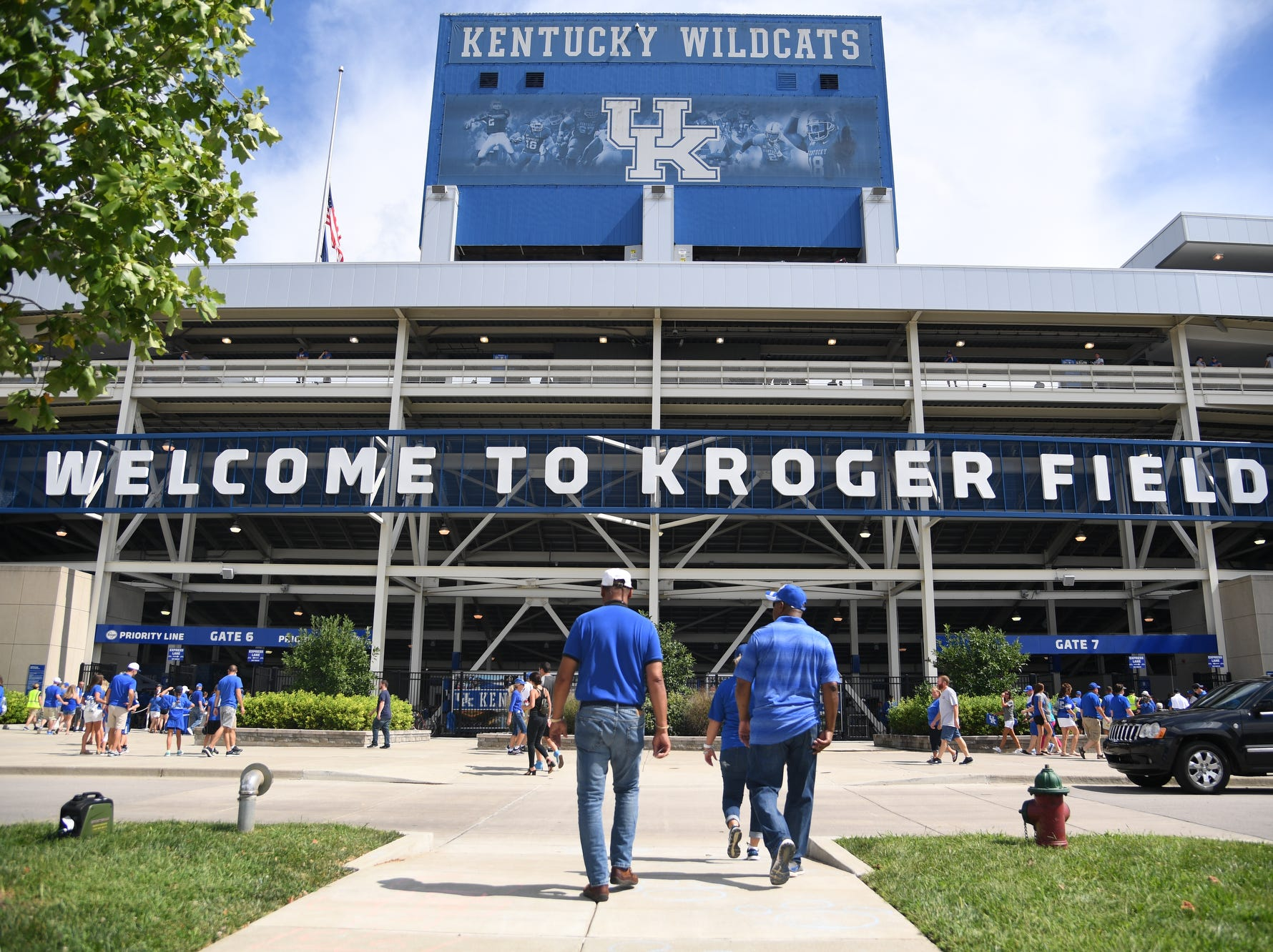Fans arrive to the University of Kentucky football game against Central Michigan at Kroger Field in Lexington, Kentucky on Saturday, September 1, 2018.