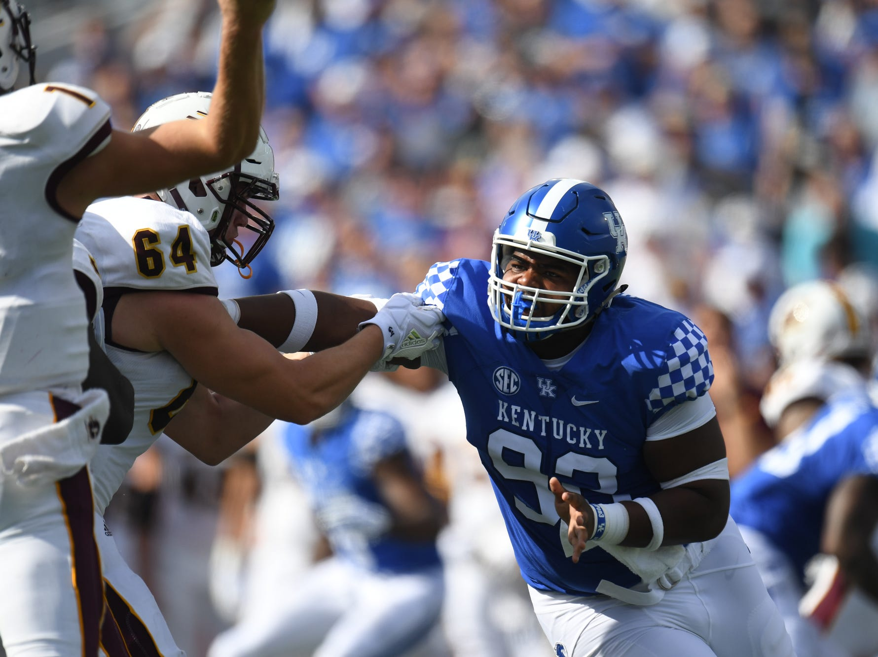 UK DT Phil Hoskins during the University of Kentucky football game against Central Michigan at Kroger Field in Lexington, Kentucky on Saturday, September 1, 2018.
