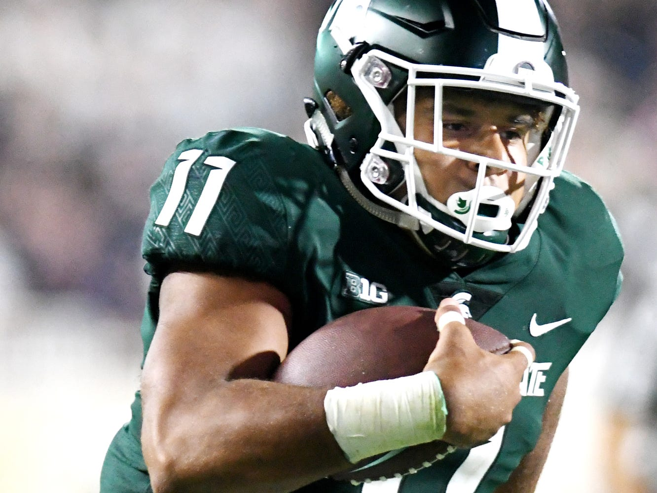 Michigan State's Connor Heyward runs for a touchdown during the fourth quarter on Friday, Aug. 31, 2018, at Spartan Stadium in East Lansing.