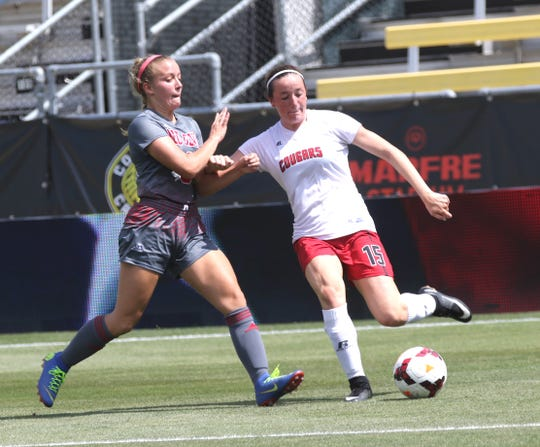 Crestview's Emily Fry kicks the ball while playing at MAPFRE stadium in Columbus on Saturday.