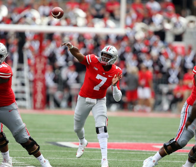 Dwayne Haskins set Ohio State records for a first career start by throwing for 313 yards and five touchdowns in Saturday's 77-31 win over Oregon State.