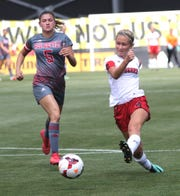 Crestview's Carley Campo kicks the ball while playing at MAPFRE stadium in Columbus last season.