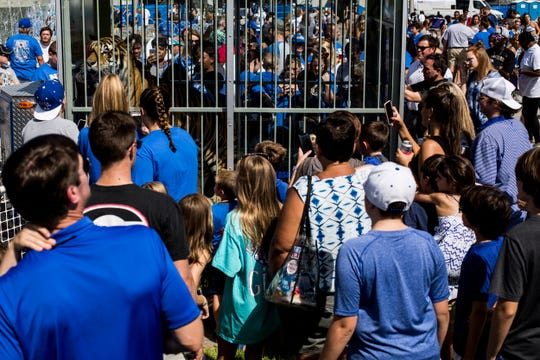 September 01 2018 - Fans look in on TOM III before the start of Saturday's game versus Mercer at the Liberty Bowl Memorial Stadium.