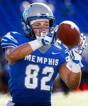 Memphis receiver Hunter Hill warms up before action against Mercer in Memphis on Sep. 1, 2018.