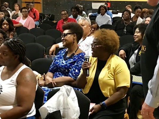 Sharon Murfreesboro, Assistant Professor of Nursing at Grambling State University, asks a question Thursday at an event highlighting the roles at and of the Louisiana Department of Children and Family Services.