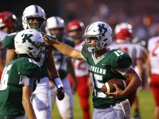 Kinnelon quarterback Joe Rymarz celebrates his touchdown in the first half vs. Parsippany during their SFC American Blue football season opener. August 31, 2018, Kinnelon, NJ