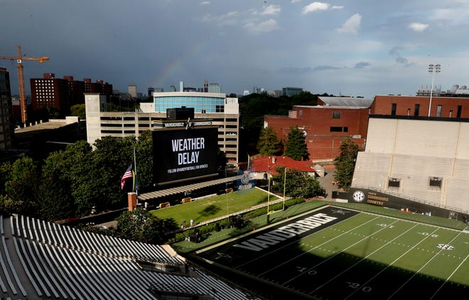 A rainbow hovers over the empty stadium during a weather delay before the Vanderbilt game against MTSU at Vanderbilt Stadium Saturday, Sept. 1, 2018, in Nashville, Tenn.