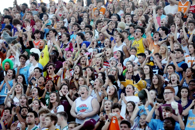 Franklin fans cheer for their team as they prepare to play Ravenwood at Franklin High School Friday August 31, 2018.