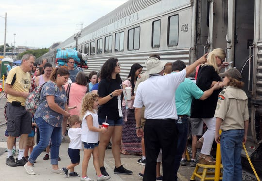 Passengers board the train during the Day Out With Thomas event at the Tennessee Railway Museum Saturday September 1, 2018.