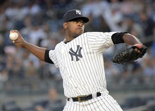 New York Yankees starting pitcher Luis Severino deliver the ball to the Detroit Tigers during the first inning of a baseball game Friday, Aug. 31, 2018, at Yankee Stadium in New York.
