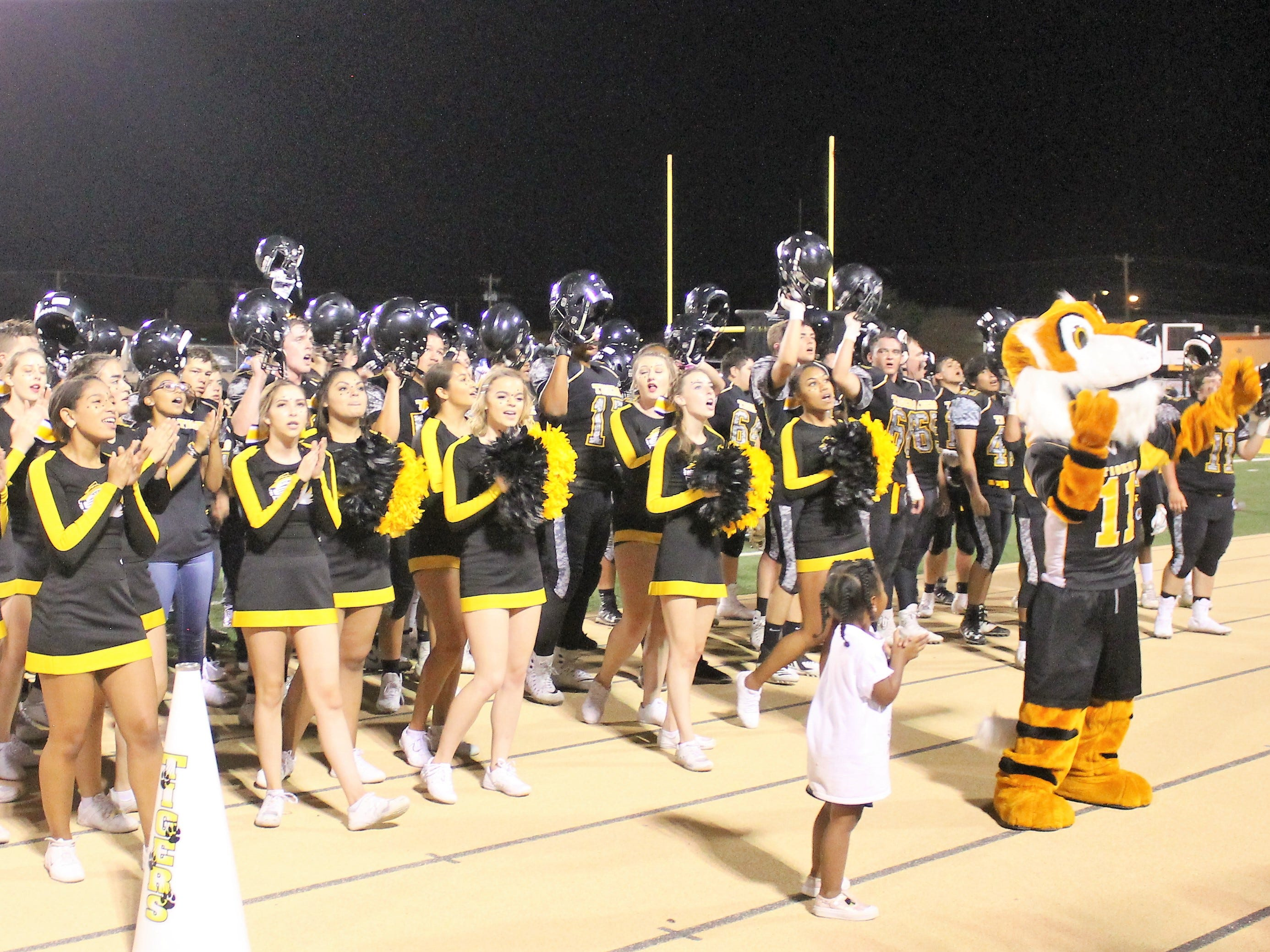 The Alamogordo Tigers football team, marching band, cheer squads and mascot lead the crowd in the Tiger Fight Song after the Tigers played Los Lunas Friday night.