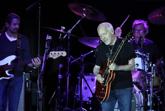 Peter Frampton performs with his four-piece band at Fantasy Springs Resort Casino in Indio .