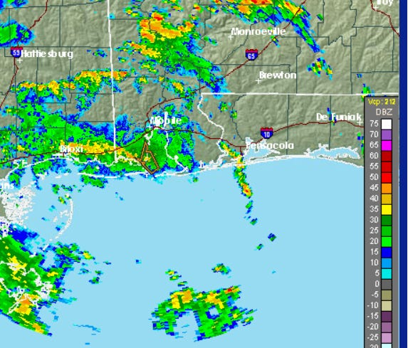Weather radar for Monday afternoon.