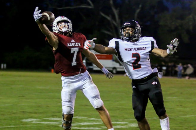 Tate's Patrick Palmer (7) tries to bring down a one-handed catch as West Florida's Amir McDaniel (2) defends against him at Tate High School on Friday, August 31, 2018.