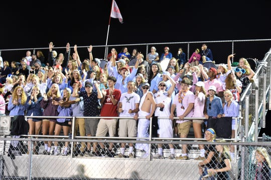 Bermudian Springs student section was showing their support the entire game with songs and togas on Aug. 31, 2018. The Eagles came out on top in their home game against the Bubblers, 27-12.