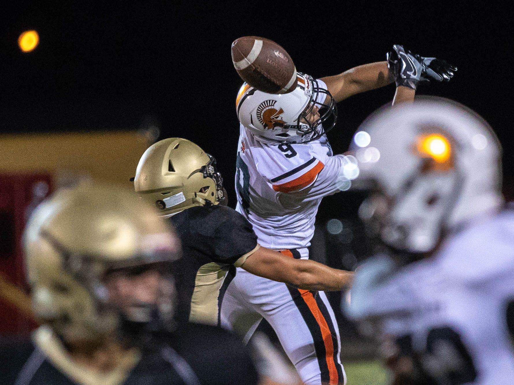 York Suburban's Tyren Posey (9) is incomplete on a pass during the second half of a football game between Delone Catholic and York Suburban, Friday, Aug. 31, 2018, at Delone Catholic High School in McSherrystown. Delone beat York Suburban 62-0.