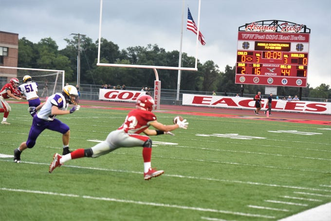 Bermudian Springs senior, Trace Grimm does not complete the pass against Bermudian Springs on Aug. 31, 2018. The Eagles came out on top in their home game against the Bubblers, 27-12.