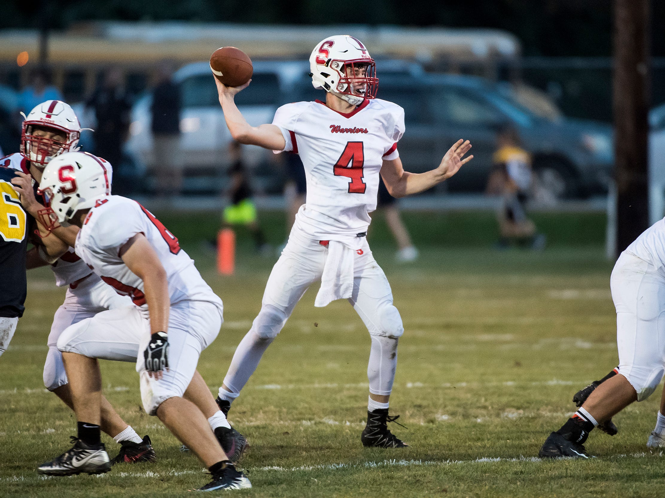 Susquehannock's Kenny Rhyne throws the ball against Littlestown on Friday, August 31, 2018. The Bolts beat the Warriors 29-14.