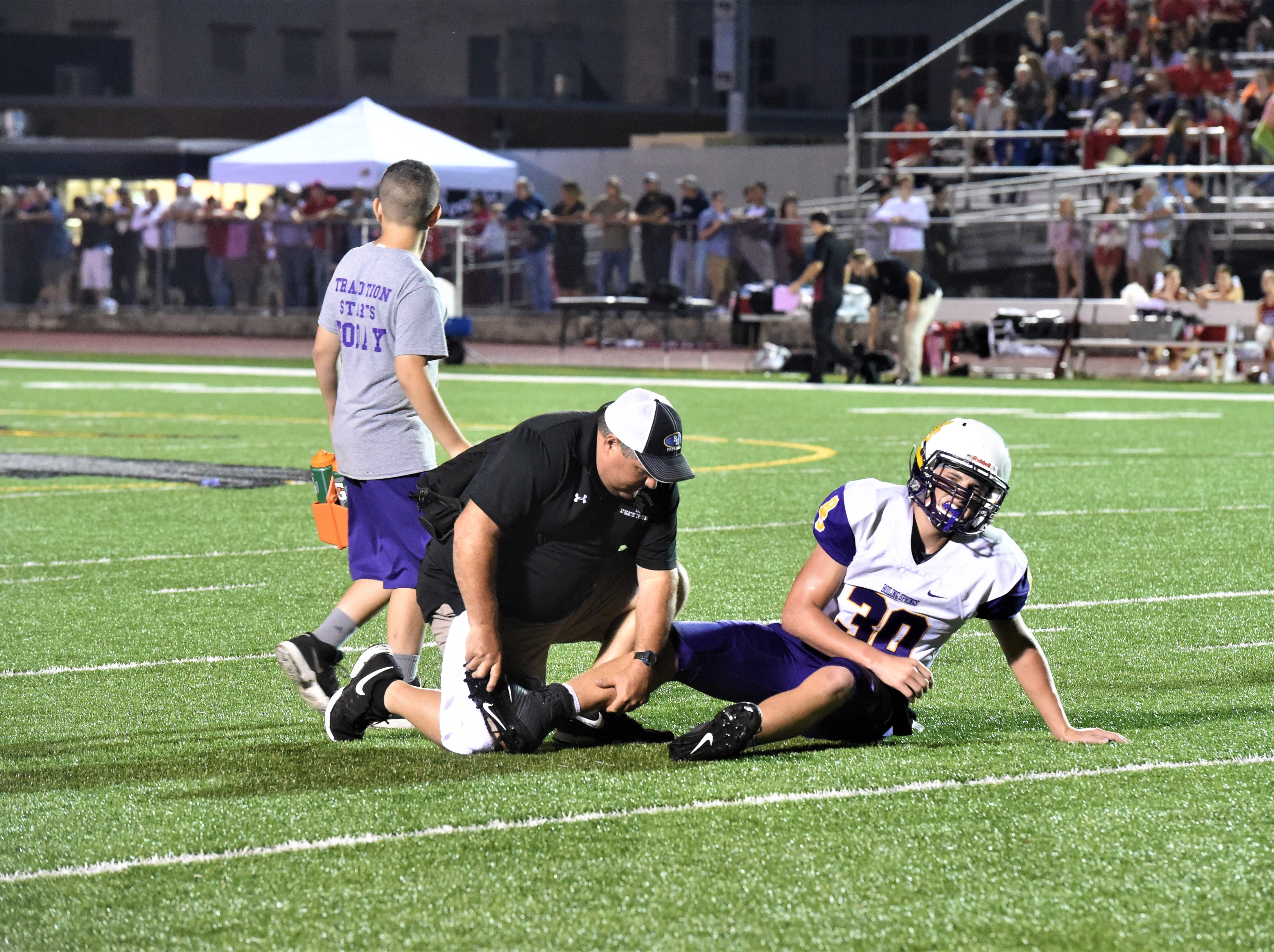 Mike Wagner, Boiling Springs senior, was one of several players that were injured during the Aug. 31, 2018 game against Bermudian Springs. The Eagles came out on top in their home game against the Bubblers, 27-12.