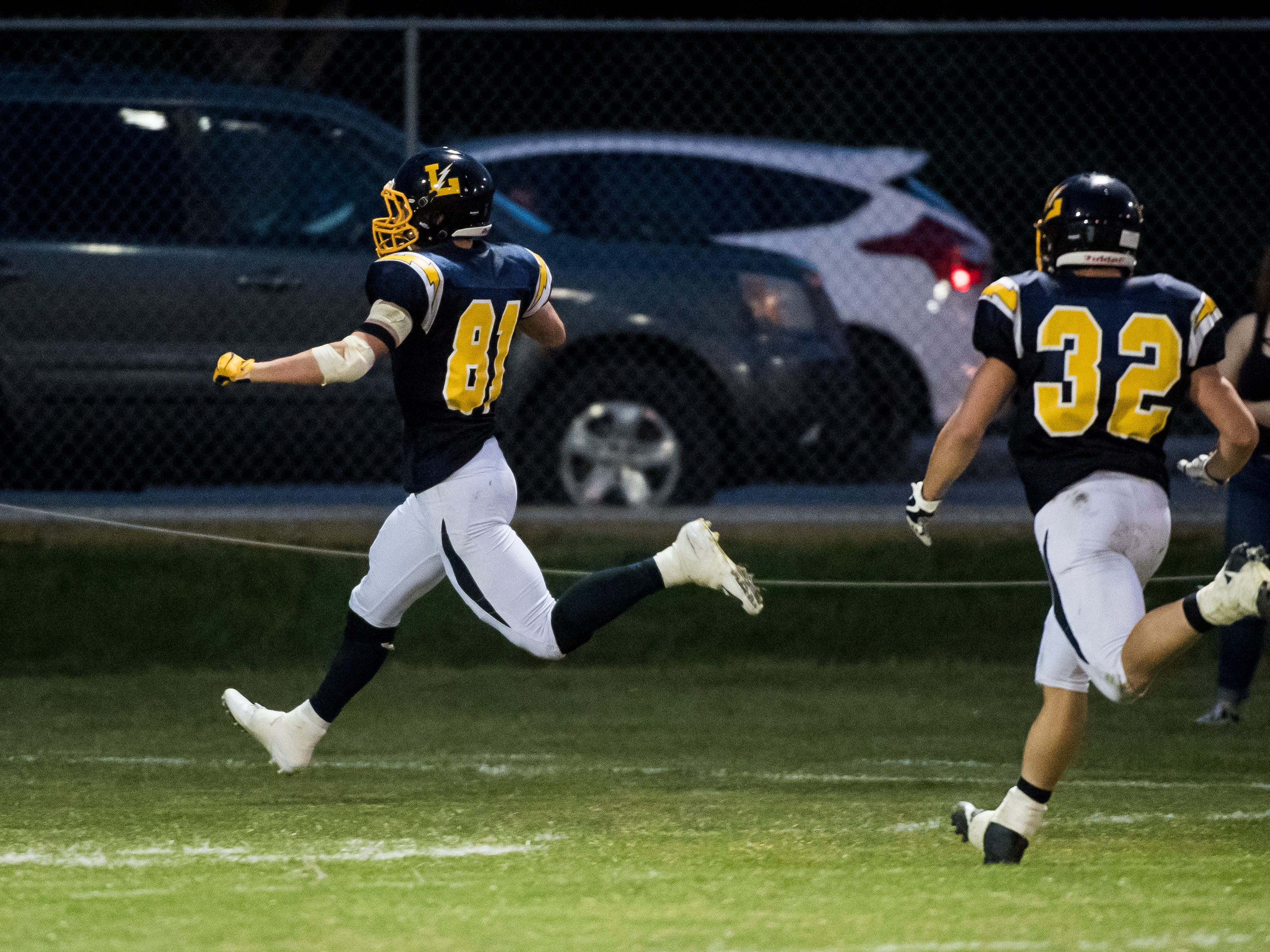 Littlestown's Brady McClintock runs into the endzone to score against Susquehannock on Friday, August 31, 2018. The Bolts beat the Warriors 29-14.