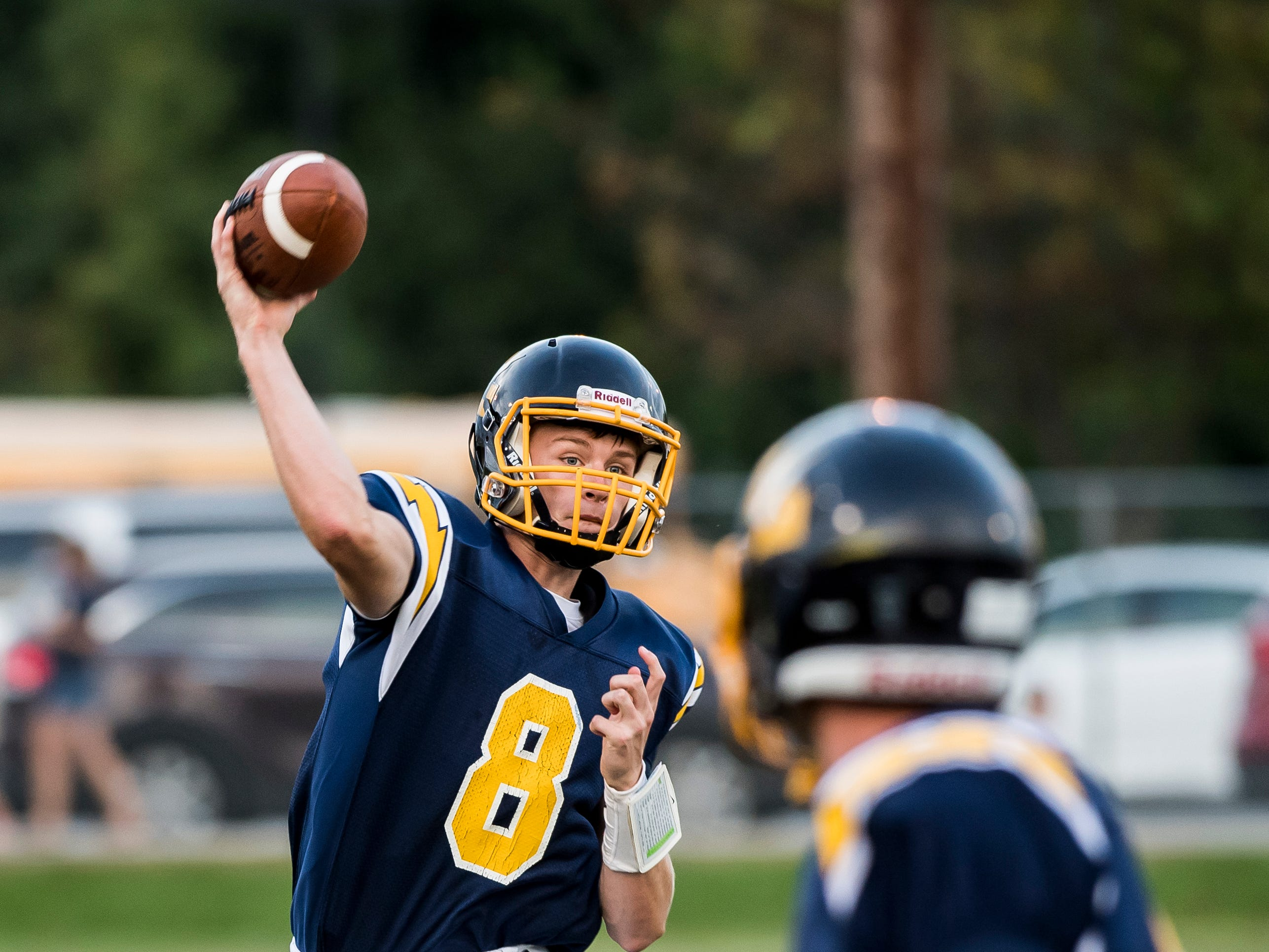 Littlestown's Jakob Lane throws during play against Susquehannock on Friday, August 31, 2018. The Bolts beat the Warriors 29-14.