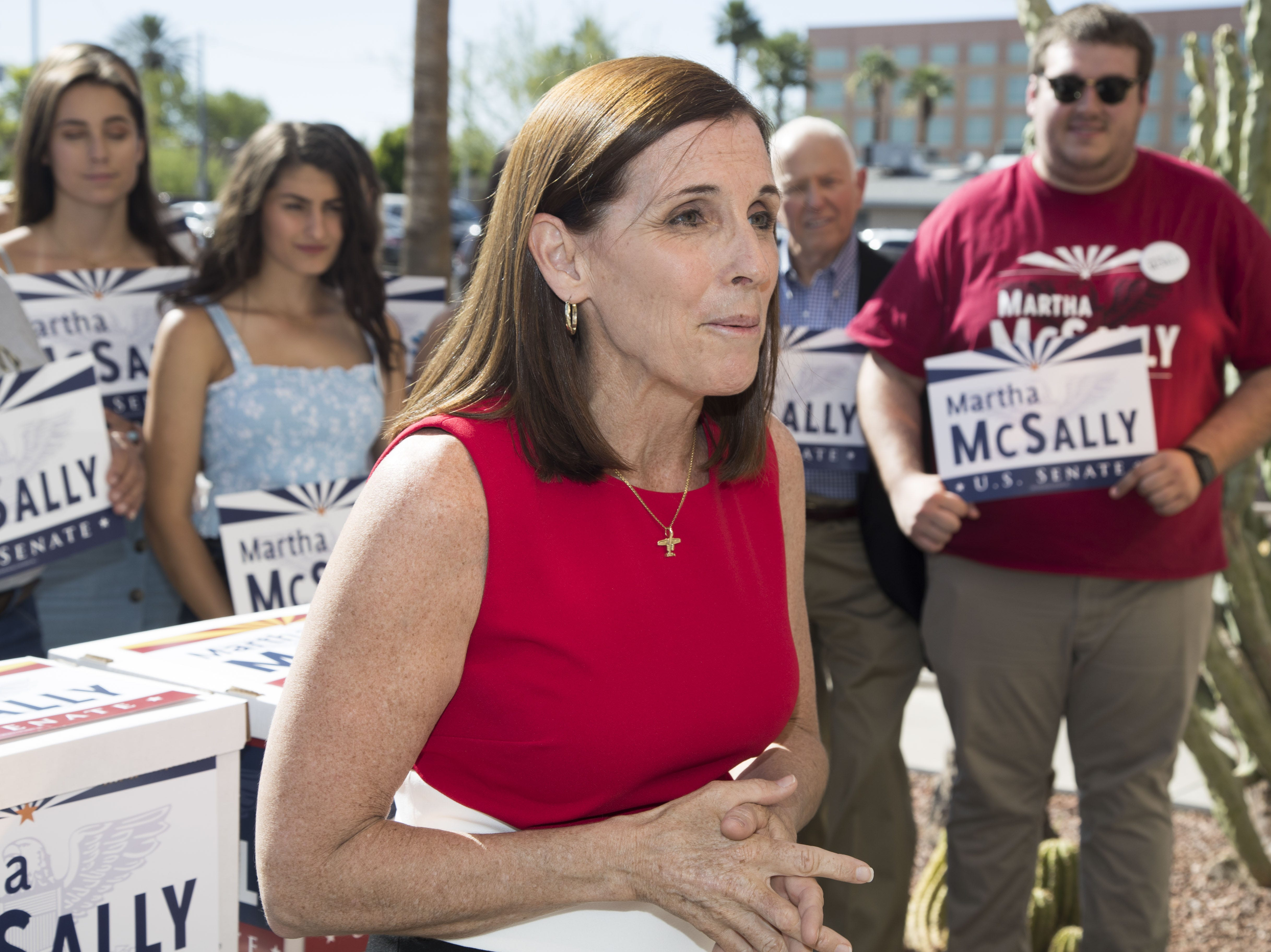U.S. Rep. Martha McSally, with her supporters, files her signatures to appear on the ballot for U.S. Senate at the Arizona Secretary of State's Office on May 29, 2018.