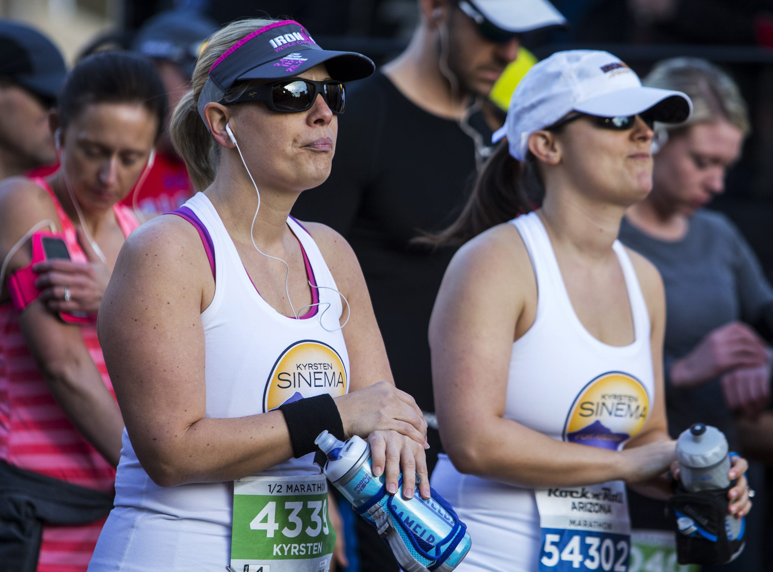 Rep. Kyrsten Sinema, D-Ariz., waits Jan. 14, 2018, at the half marathon and 10K starting line before the Synchrony Financial Rock 'n' Roll Arizona Marathon & Half Marathon on in Tempe.