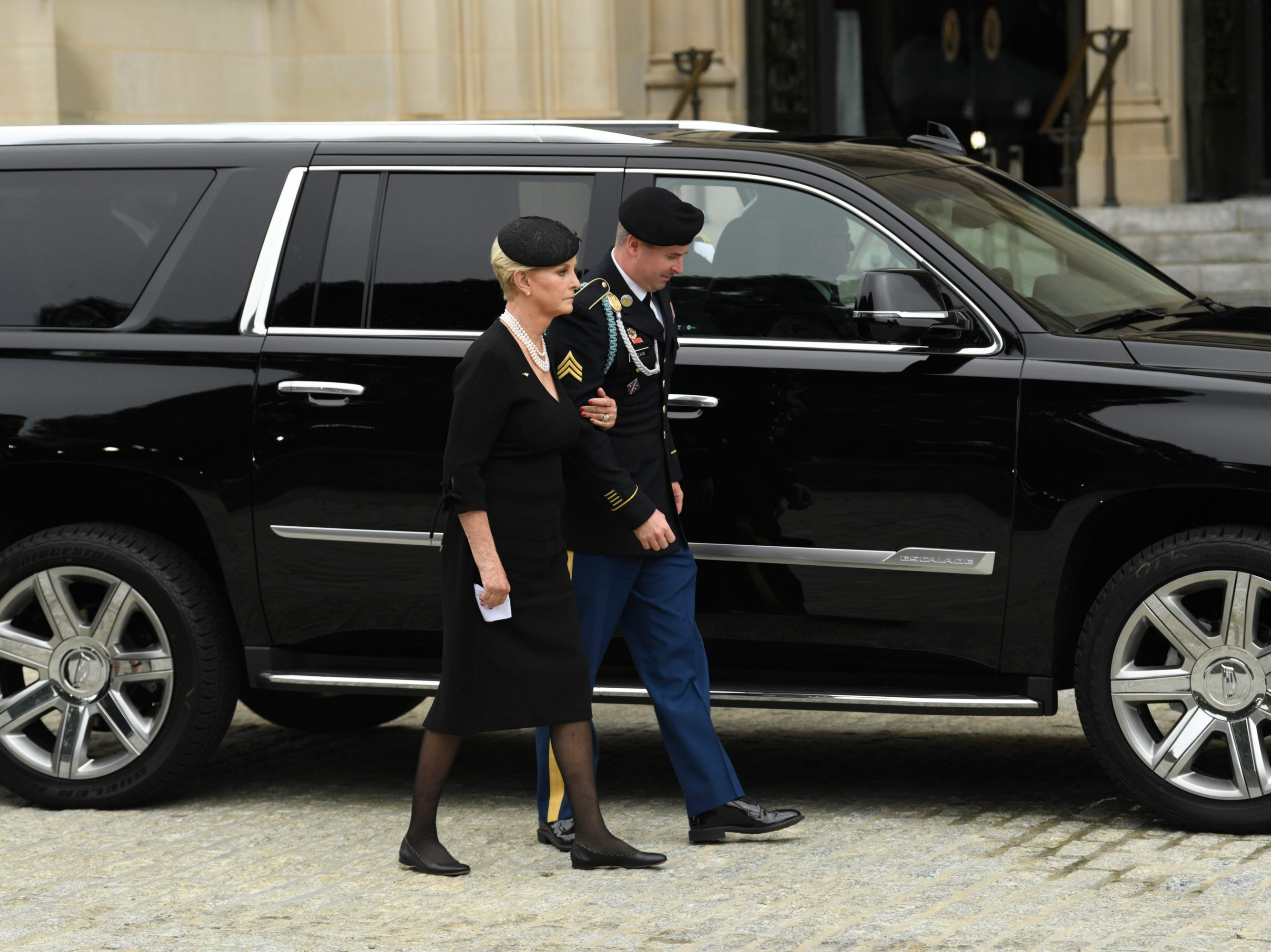 9/1/18 9:41:05 AM -- Washington, DC, U.S.A  -- Cindy and James McCain arrive at the National Cathedral in Washington for a memorial service for John McCain on Sept. 1, 2018. Sen. McCain on Aug. 25. McCain died on Aug. 25. --    Photo by Jasper Colt, USA TODAY Staff