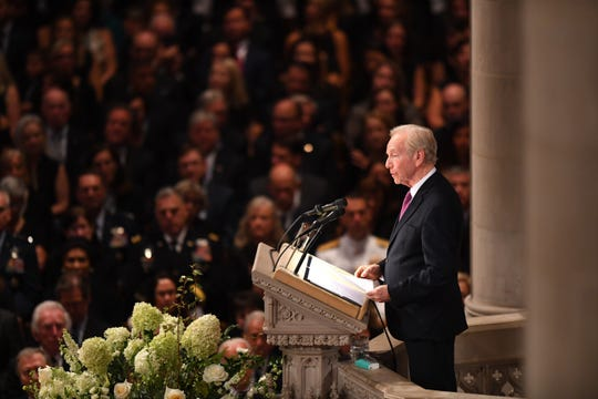 Former Sen. Joe Lieberman at the memorial service for John McCain at the National Cathedral in Washington on Sept. 1, 2018.