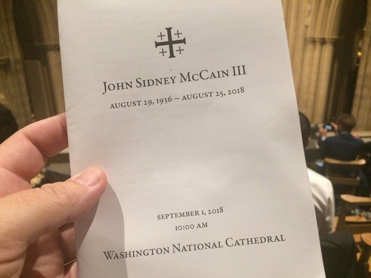 Program for the John McCain memorial service at the National Cathedral on Sept. 1, 2018.