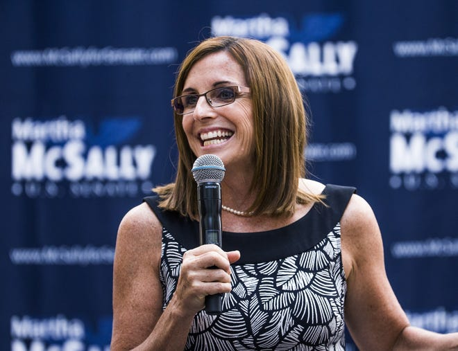 Rep. Martha McSally gives a speech introducing a coalition of women during a press event in Phoenix on Aug. 15, 2018.