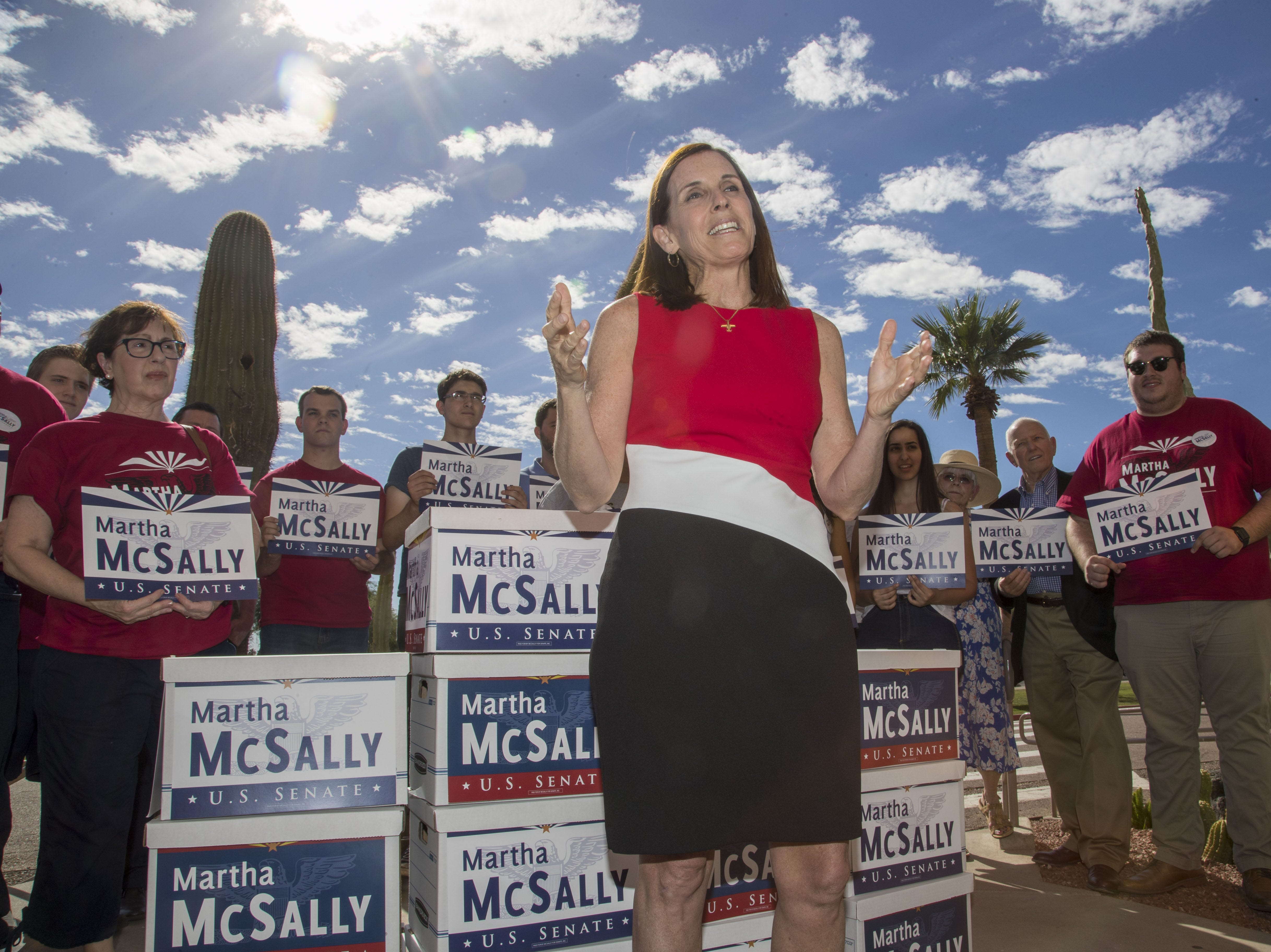 U.S. Rep. Martha McSally with her supporters file her signatures to appear on the ballot for U.S. Senate at Arizona Secretary of State's Office on Tuesday May 29, 2018.