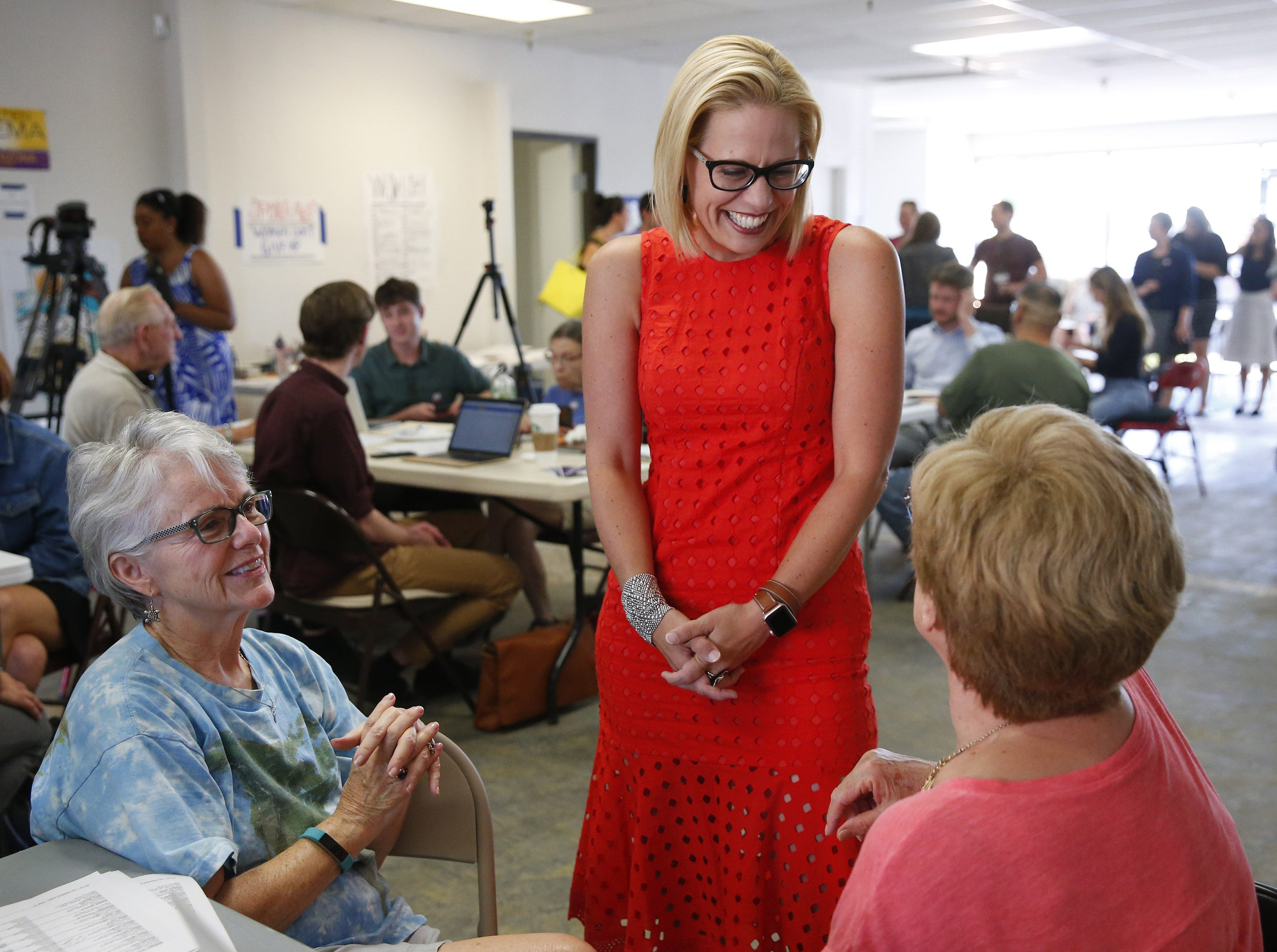 Kyrsten Sinema thanks volunteers at her field office in Phoenix, Ariz. August 28. 2018. Sinema is vying for the Democratic nomination for the open U.S. Senate seat.