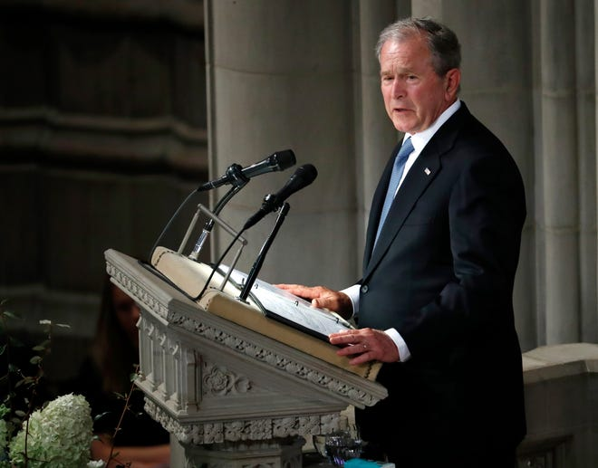 Former President George W. Bush speaks at a memorial service for Sen. John McCain on Sept. 1. Bush will be in Pigeon Forge for the Celebrators Conference this month.